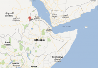 Map from Ethiopia. Red dot: Humera