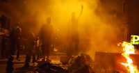 "Istanbul ""Çapulcus"" behind a barricade"